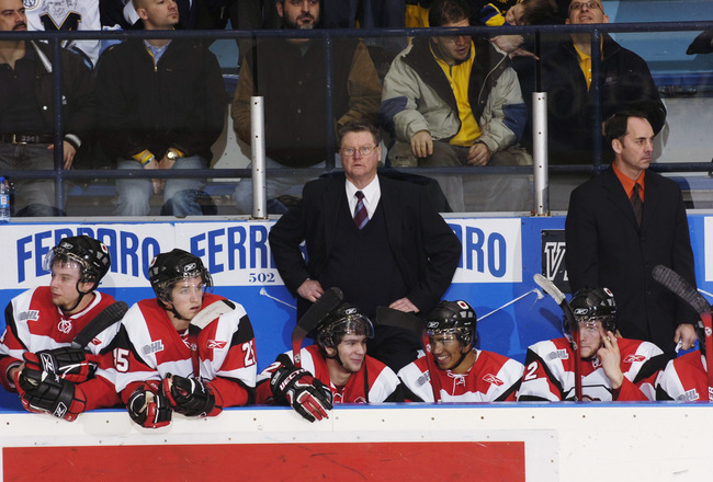 TORONTO - JANUARY 12:  Head Coach Brian Kilrea of the Ottawa 67's looks on from behind the bench against the Toronto St. Michael's Majors during the OHL game on January 12, 2006 at St. Michael's School Arena.  The 67's won 4-2.  (Photo by Graig Abel/Getty