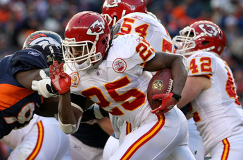 DENVER - JANUARY 03: Jamaal Charles #25 of the Kansas City Chiefs rushes against the Denver Broncos at Invesco Field at Mile High on January 3, 2010 in Denver, Colorado. (Photo by Doug Pensinger/Getty Images)