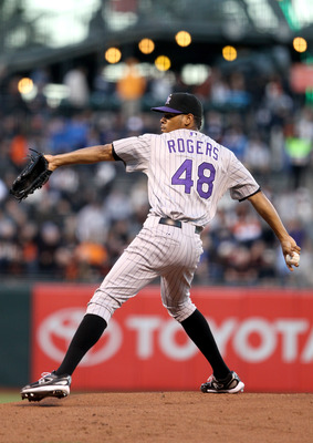 SAN FRANCISCO - AUGUST 31:  Esmil Rogers #48 of the Colorado Rockies pitches against the San Francisco Giants at AT&T Park on August 31, 2010 in San Francisco, California.  (Photo by Ezra Shaw/Getty Images)