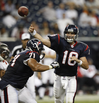 HOUSTON - SEPTEMBER 02:  Quarterback John David Booty #10 of the Houston Texans throws a pass in the fourth quarter in a preseason game against the Tampa Bay Buccaneers  at Reliant Stadium on September 2, 2010 in Houston, Texas.  (Photo by Bob Levey/Getty