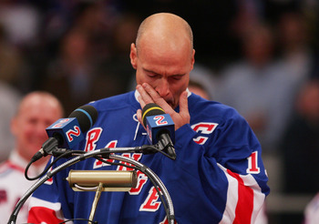 NEW YORK - JANUARY 24:  Former New York Ranger Mark Messier gets emotional as he speaks about former teammate Brian Leetch during Leetch's jersey retirment ceremony before the game against the Atlanta Thrashers on January 24, 2008 at Madison Square Garden
