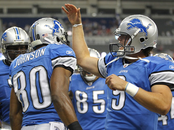 DETROIT - AUGUST 28:  Bryant Johnson #80 of the Detroit Lions celebrates a first quarter touchdown with Matthew Stafford #9 of the Cleveland Browns during a preseason game on August 28, 2010 at Ford Field in Detroit, Michigan.  (Photo by Gregory Shamus/Ge
