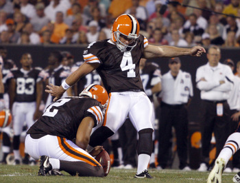 CLEVELAND - SEPTEMBER 2: Phil Dawson # 4 of the Cleveland Browns kicks a field goal against the Chicago Bears during the preseason game on September 2, 2010 at Cleveland Browns Stadium in Cleveland, Ohio. The Browns defeated the Bears 13-10. (Photo by Jus