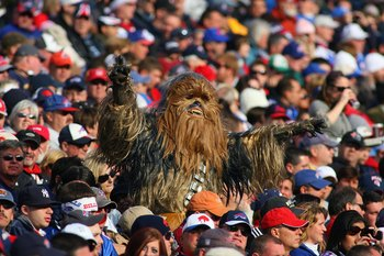 ORCHARD PARK, NY - NOVEMBER 01:  A fan dressed as the Star Wars character Chewbacca watches the Buffalo Bills game against the Houston Texans at Ralph Wilson Stadium on November 1, 2009 in Orchard Park, New York. Houston won 31-10. (Photo by Rick Stewart/
