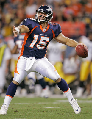 DENVER - AUGUST 29: Quarterback Tim Tebow #15 of the Denver Broncos makes a pass against the Pittsburgh Steelers at INVESCO Field at Mile High on August 29, 2010 in Denver, Colorado.  (Photo by Justin Edmonds/Getty Images)