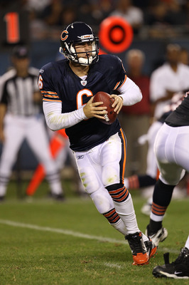 CHICAGO - AUGUST 28: Jay Cutler #6 of the Chicago Bears drops back to pass against the Arizona Cardinals during a preseason game at Soldier Field on August 28, 2010 in Chicago, Illinois. The Cardinals defeated the Bears 14-9. (Photo by Jonathan Daniel/Get