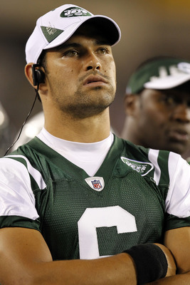 PHILADELPHIA - SEPTEMBER 02: Mark Sanchez #6 of the New York Jets stands on the sidelines during a preseason game against the Philadelphia Eagles at Lincoln Financial Field on September 2, 2010 in Philadelphia, Pennsylvania. (Photo by Jeff Zelevansky/Gett