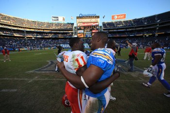 SAN DIEGO - NOVEMBER 29:  Chris Chambers #11 of the Kansas City Chiefs and Antonio Gates #85 of the San Diego Chargers hug after their NFL game on November 29, 2009 at Qualcomm Stadium in San Diego, California. The Chargers defeated the Chiefs 43-14. (Pho