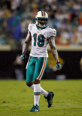 JACKSONVILLE, FL - AUGUST 21:  Brandon Marshall #19 of the Miami Dolphins prepares to run a route during the preseason game against the Jacksonville Jaguars at EverBank Field on August 21, 2010 in Jacksonville, Florida.  (Photo by Sam Greenwood/Getty Imag