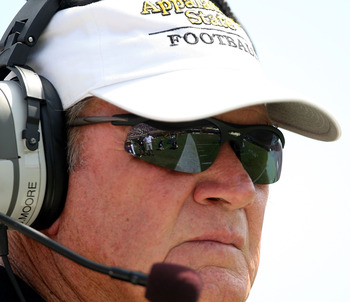 GREENVILLE, NC - SEPTEMBER 05:  Head coach Jerry Moore of the Appalachian State Mountaineers watches on against the East Carolina Pirates at Dowdy-Ficklen Stadium on September 5, 2009 in Greenville, North Carolina.  (Photo by Streeter Lecka/Getty Images)