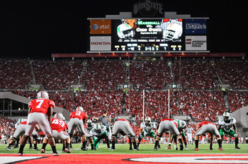 COLUMBUS, OH - SEPTEMBER 2: The Ohio State Buckeyes play the Marshall Thundering Herd at Ohio Stadium on September 2, 2010 in Columbus, Ohio. (Photo by Jamie Sabau/Getty Images)
