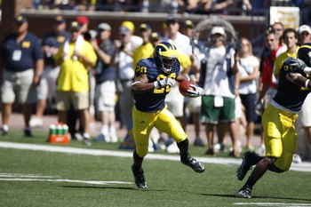 ANN ARBOR, MI - SEPTEMBER 6:  Michael Shaw #20 of the Michigan Wolverines runs with the ball during the game against the Miami of Ohio Red Hawks on September 6, 2008 at Michigan Stadium in Ann Arbor, Michigan.  The Wolverines defeated the Red Hawks 16-6.