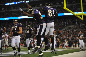 BALTIMORE - AUGUST 28:  Anquan Boldin #81 of the Baltimore Ravens celebrates a touchdown against the New York Giants at M&T Bank Stadium on August 28, 2010 in Baltimore, Maryland. The Ravens lead the Giants 17-3. (Photo by Larry French/Getty Images)