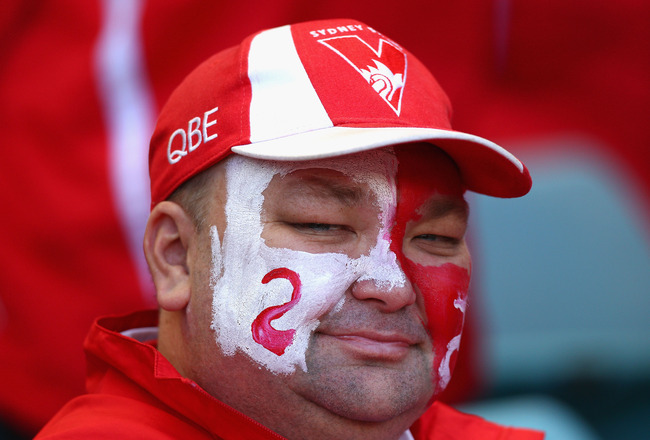 SYDNEY, AUSTRALIA - SEPTEMBER 05:  Swans fans look on during the AFL First Elimination Final match between the Sydney Swans and the Carlton Blues at ANZ Stadium on September 5, 2010 in Sydney, Australia.  (Photo by Ryan Pierse/Getty Images)
