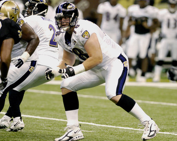 Baltimore Ravens tackle Adam Terry  sets to block   during a pre-season game against the New Orleans Saints August 26, 2005 in New Orleans.  (Photo by Al Messerschmidt/Getty Images)