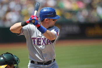 OAKLAND, CA - AUGUST 08:  Michael Young #10 of the Texas Rangers in action against the Oakland Athletics during an MLB game at the Oakland-Alameda County Coliseum on August 8, 2010 in Oakland, California.  (Photo by Jed Jacobsohn/Getty Images)