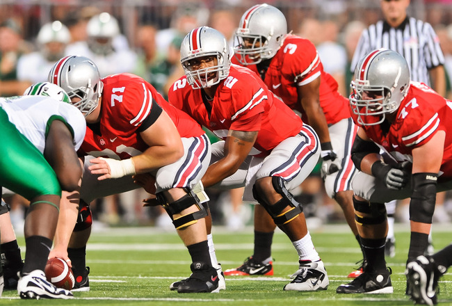 COLUMBUS, OH - SEPTEMBER 2: Terrelle Pryor #2 of the Ohio State Buckeyes takes the ball from center against the Marshall Thundering Herd at Ohio Stadium on September 2, 2010 in Columbus, Ohio. (Photo by Jamie Sabau/Getty Images)