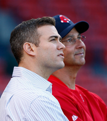 BOSTON - APRIL 24: General Manager Theo Epstein and Manger Terry Francona of the Boston Red Sox watch the pre-game action before a game with the New York Yankees at Fenway Park, April 24, 2009, in Boston, Massachusetts. (Photo by Jim Rogash/Getty Images)