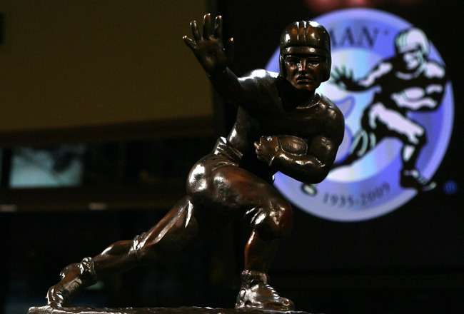 NEW YORK - DECEMBER 12:  The Heisman trophy awarded to Running back Mark Ingram #22 of the Alabama Crimson Tide at a press conference after  he was named the 75th Heisman Trophy winner at the Marriott Marquis on December 12, 2009 in New York City.  (Photo