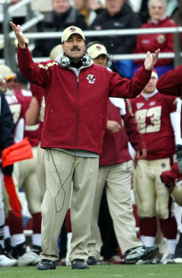 CHESTNUT HILL, MA - OCTOBER 17:  Head coach Frank Spaziani of the Boston College Eagles reacts after he thought a call should have been made against  the North Carolina State Wolf Pack in the first half on October 17, 2009 at Alumni Stadium in Chestnut Hi