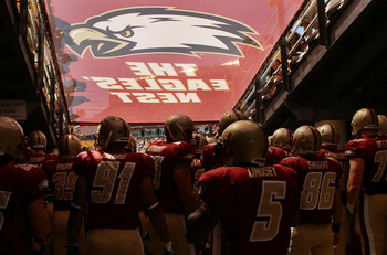 CHESTNUT HILL, MA - SEPTEMBER 04:  The Boston College Eagles line up to enter the field before the game against the Weber State Wildcats on September 4, 2010 at Alumni Stadium in Chestnut Hill, Massachusetts.  (Photo by Elsa/Getty Images)