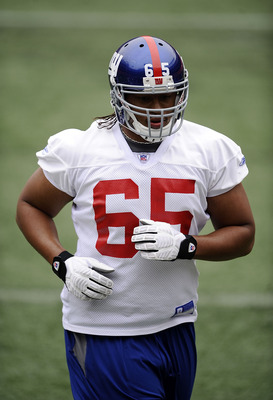 EAST RUTHERFORD, NJ - MAY 09:  William Beatty #65 of the New York Giants works out at rookie camp on May 9, 2009 in East Rutherford, New Jersey.  (Photo by Jeff Zelevansky/Getty Images)