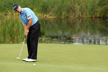 NORTON, MA - SEPTEMBER 03:  Steve Stricker putts on the 16th hole in the first round of the Deutsche Bank Championship at TPC Boston on September 3, 2010 in Norton, Massachusetts.  (Photo by Mike Ehrmann/Getty Images)