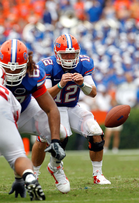 GAINESVILLE, FL - SEPTEMBER 04:  Quarterback John Brantley #12 of the Florida Gators waits for the ball against the Miami University RedHawks at Ben Hill Griffin Stadium on September 4, 2010 in Gainesville, Florida.  (Photo by Sam Greenwood/Getty Images)