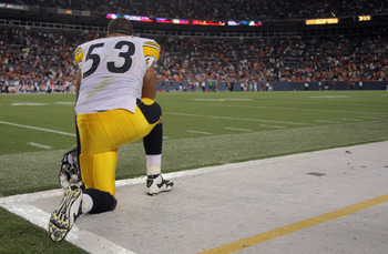 DENVER - AUGUST 29:  Center Maurkice Pouncey #53 of the Pittsburgh Steelers watches from the sidelines against the Denver Broncos during preseason NFL action at INVESCO Field at Mile High on August 29, 2010 in Denver, Colorado. The Broncos defeated the St