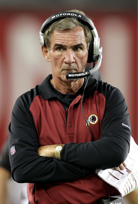 GLENDALE, AZ - SEPTEMBER 02:  Head coach Mike Shanahan of the Washington Redskins walks the sidelines during preseason NFL game against the Arizona Cardinals at the University of Phoenix Stadium on September 2, 2010 in Glendale, Arizona.  The Cardinals de