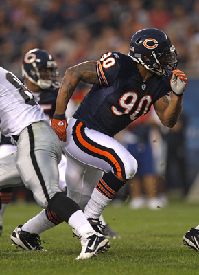 CHICAGO - AUGUST 21: Julius Peppers #90 of the Chicago Bears rushes against the Oakland Raiders during a preseason game at Soldier Field on August 21, 2010 in Chicago, Illinois. The Radiers defeated the Bears 32-17. (Photo by Jonathan Daniel/Getty Images)