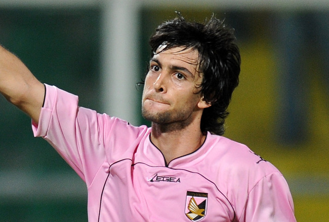 PALERMO, ITALY - AUGUST 19:  Javier Pastore of Palermo celebrates after scoring his team's third goal during the Europa League Play-Offs first leg match between US Citta di Palermo and NK Maribor at Stadio Renzo Barbera on August 19, 2010 in Palermo, Ital
