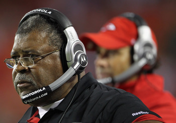 KANSAS CITY, MO - SEPTEMBER 02:  Defensive Coordinator Romeo Crennel of the Kansas City Chiefs looks on from the sidelines alongside head coach Todd Haley during the game against the Green Bay Packers on September 2, 2010 at Arrowhead Stadium in Kansas Ci