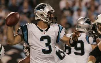 CHARLOTTE, NC - AUGUST 21:  Quarterback Matt Moore #3 of the Carolina Panthers throws during a preseason game against the New York Jets at Bank of America Stadium on August 21, 2010 in Charlotte, North Carolina. (Photo by Mary Ann Chastain/Getty Images)