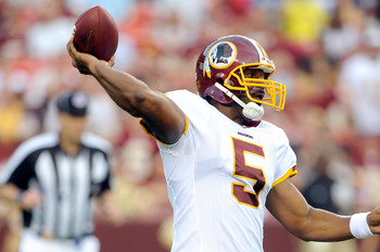 LANDOVER, MD - AUGUST 21:  Donovan McNabb #5 of the Washington Redskins throws a pass during the preseason game against the Baltimore Ravens at FedExField on August 21, 2010 in Landover, Maryland.  (Photo by Greg Fiume/Getty Images)