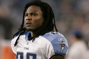 CHARLOTTE, NC - AUGUST 28:  Runningback Chris Johnson #28 of the Tennessee Titans walks on the sidelines before  the start of their preseason game against the Carolina Panthers at Bank of America Stadium on August 28, 2010 in Charlotte, North Carolina. (P
