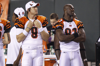 CINCINNATI, OH - AUGUST 15: Carson Palmer #9 and Terrell Owens #81 of the Cincinnati Bengals look on against the Denver Broncos during a preseason game at Paul Brown Stadium on August 15, 2010 in Cincinnati, Ohio. The Bengals won 33-24. (Photo by Joe Robb