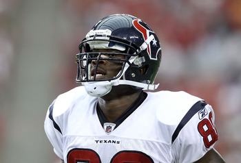 GLENDALE, AZ - AUGUST 14:  Wide receiver Andre Johnson #80 of the Houston Texans during preseason NFL game against the Arizona Cardinals at the University of Phoenix Stadium on August 14, 2010 in Glendale, Arizona.  The Cardinals defeated the Texans 19-16