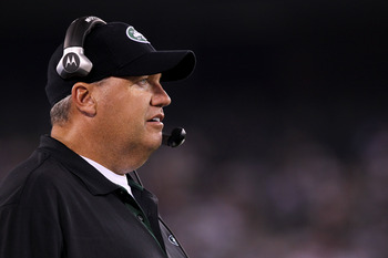 EAST RUTHERFORD, NJ - AUGUST 16:  Head coach Rex Ryan of the New York Jets looks on during their game against the New York Giants at New Meadowlands Stadium on August 16, 2010 in East Rutherford, New Jersey.  (Photo by Nick Laham/Getty Images)