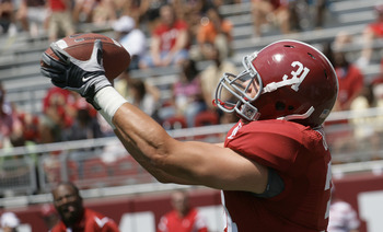 TUSCALOOSA, AL - APRIL 17: Tight end John Baites #31 of the Alabama Crimson Tide catches a pass prior to the start of the Alabama spring game at Bryant Denny Stadium on April 17, 2010 in Tuscaloosa, Alabama. (Photo by Dave Martin/Getty Images)