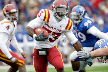 LAWRENCE, KS - OCTOBER 10:  Running back Alexander Robinson #33 of the Iowa State Cyclones carries the ball during the game against the Kansas Jayhawks on October 10, 2009 at Memorial Stadium in Lawrence, Kansas.  (Photo by Jamie Squire/Getty Images)