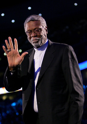 DENVER - FEBRUARY 20:   NBA legend Bill Russell waves to the crowd during the 54th All-Star Game, part of 2005 NBA All-Star Weekend at Pepsi Center on February 20, 2005 in Denver, Colorado.  The East won 125-115.  NOTE TO USER: User expressly acknowledges