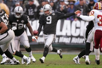 OAKLAND, CA - DECEMBER 13:  Shane Lechler #9 of the Oakland Raiders kicks the the ball during their game against the Washington Redskins at Oakland-Alameda County Coliseum on December 13, 2009 in Oakland, California.  (Photo by Ezra Shaw/Getty Images)