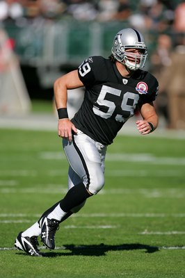 OAKLAND, CA - NOVEMBER 15:  Jon Condo #59 of the Oakland Raiders warms up before their game against the Kansas City Chiefs at Oakland-Alameda County Coliseum on November 15, 2009 in Oakland, California.  (Photo by Ezra Shaw/Getty Images)