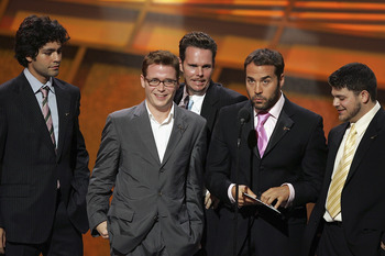 HOLLYWOOD - JULY 13:  The cast of the HBO show 'Entourage' Adrian Grenier, Kevin Connolly, Kevin Dillion, Jeremy Piven and Jerry Ferrara onstage at the 13th Annual ESPY Awards at the Kodak Theatre on July 13, 2005 in Hollywood, California.  (Photo by Kevi