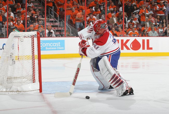 PHILADELPHIA - MAY 24:  Goalie Jaroslav Halak #41 of the Montreal Canadiens handles the puck against the Philadelphia Flyers in Game 5 of the Eastern Conference Finals during the 2010 NHL Stanley Cup Playoffs at Wachovia Center on May 24, 2010 in Philadel