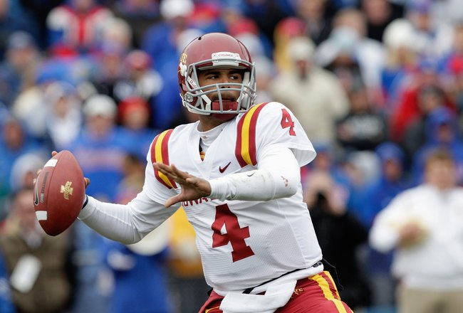 LAWRENCE, KS - OCTOBER 10:  Austen Arnaud #4 of the Iowa State Cyclones passes during the game against the Kansas Jayhawks on October 10, 2009 at Memorial Stadium in Lawrence, Kansas. (Photo by Jamie Squire/Getty Images)