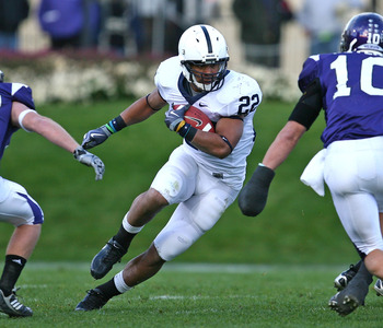EVANSTON, IL - OCTOBER 31: Evan Royster #22 of the Penn State Nittany Lions runs against the Northwestern Wildcats at Ryan Field on October 31, 2009 in Evanston, Illinois. (Photo by Jonathan Daniel/Getty Images)
