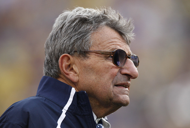 ORLANDO, FL - JANUARY 1: Head coach Joe Paterno of the Penn State Nittany Lions looks on during the 2010 Capital One Bowl against the LSU Tigers at the Florida Citrus Bowl Stadium on January 1, 2010 in Orlando, Florida. Penn State won 19-17. (Photo by Joe