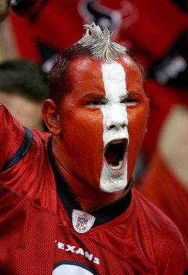 HOUSTON - NOVEMBER 23: A Houston Texans fan yells during the game with the Tennessee Titans on November 23, 2009  at Reliant Stadium in Houston, Texas.  The Titans won 20-17.  (Photo by Stephen Dunn/Getty Images)
